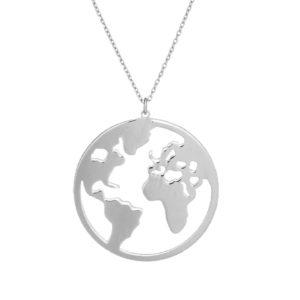 Długi naszyjnik azymut srebrny mapa 2