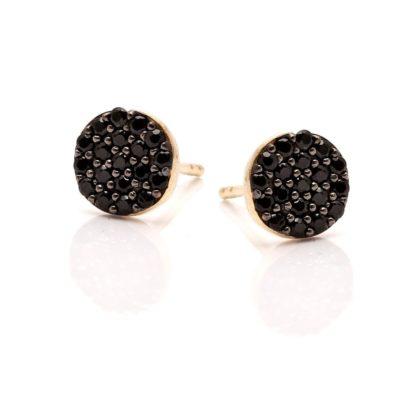 Kolczyki oval srebrne pozłacane z czarnymi cyrkoniami
