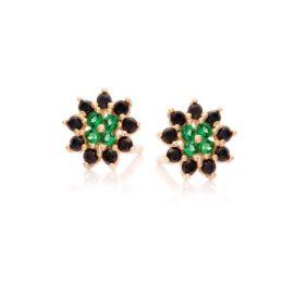 Kolczyki royal złote rozeta z zielonymi i czarnymi cyrkoniami