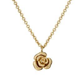 Naszyjnik rosalie srebrny pozłacany z różyczką