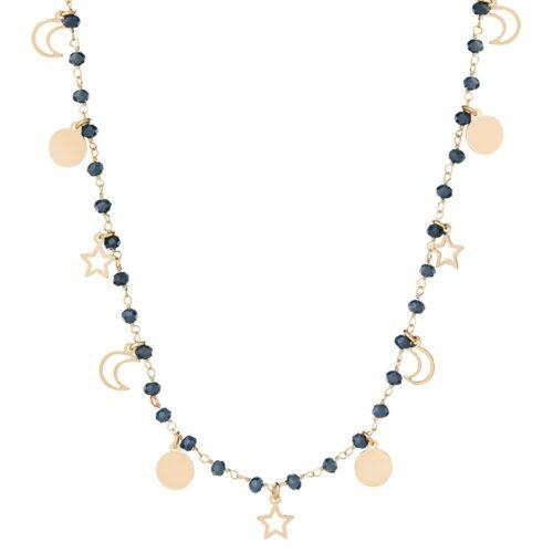 Naszyjnik sunny srebrny pozłacany z koralikami