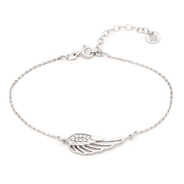 Bransoletka boho srebrna ze skrzydłem