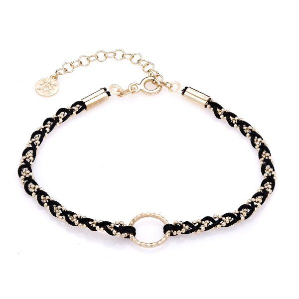 Bransoletka milos srebrna pozłacana z czarnym sznurkiem