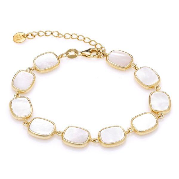 Bransoletka modern srebrna pozłacana z masą perłową