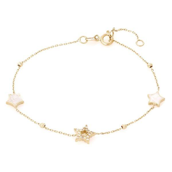 Bransoletka nyks złota z masą perłową i gwiazdkami