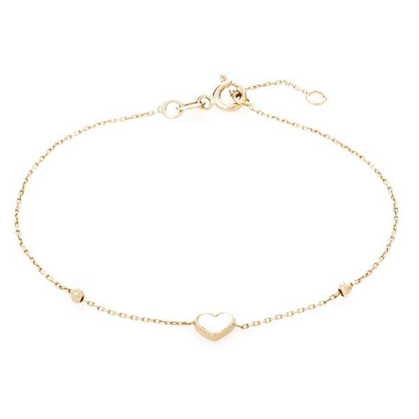 Bransoletka nyks złota z masą perłową i serduszkiem