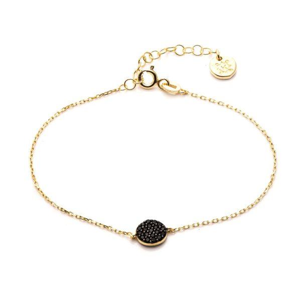 Bransoletka oval srebrna pozłacana z czarnymi cyrkoniami