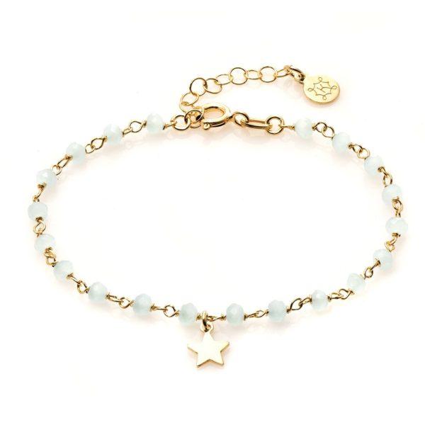 Bransoletka oval srebrna pozłacana z gwiazdką i kryształkami