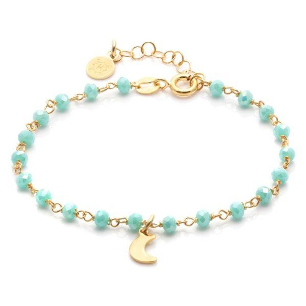 Bransoletka oval srebrna pozłacana z księżycem i kryształkami