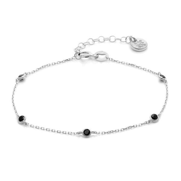 Bransoletka oval srebrna z czarnymi cyrkoniami
