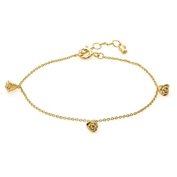 Bransoletka rosalie srebrna pozłacana z różyczkami