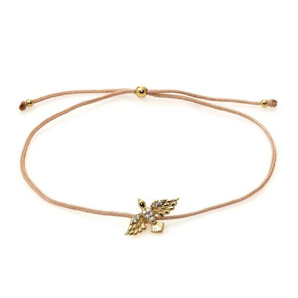 Bransoletka sznurkowa rosalie z ptakiem