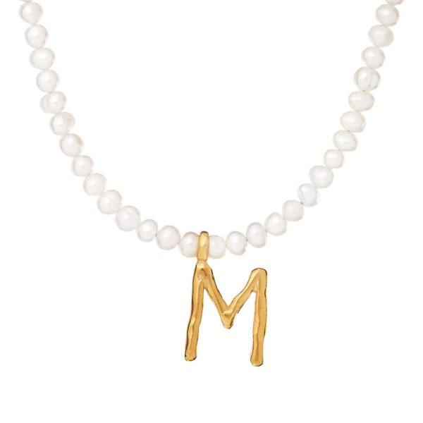 Choker ania kruk x pozerki srebrny pozłacany z naturalnymi perłami i literą m