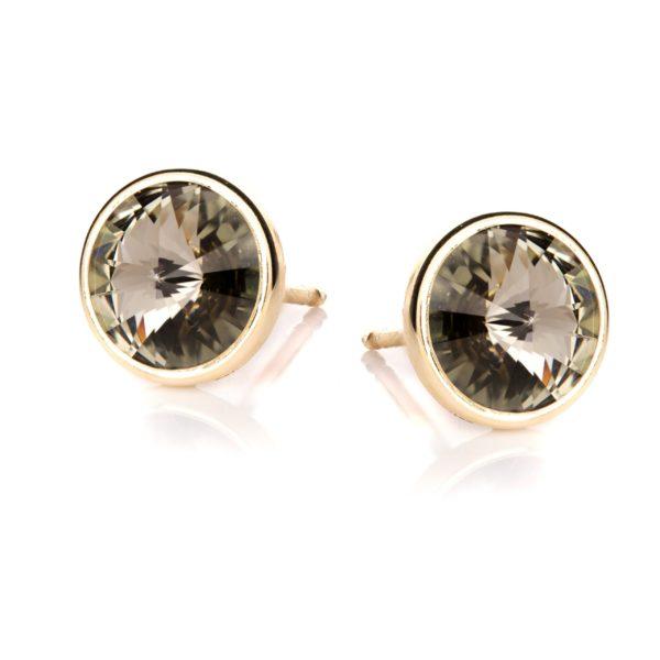 Kolczyki aida srebrne pozłacane z kryształem swarovskiego