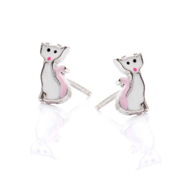 Kolczyki mini srebrne kotek