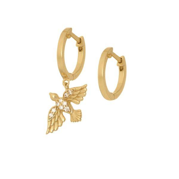 Kolczyki rosalie srebrne pozłacane z ptakiem i cyrkoniami