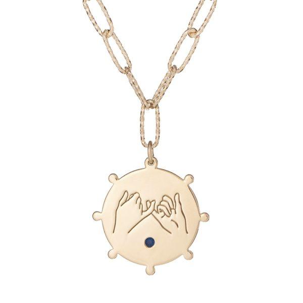 "Naszyjnik amulet srebrny pozłacany z napisem ""jestem obok"""