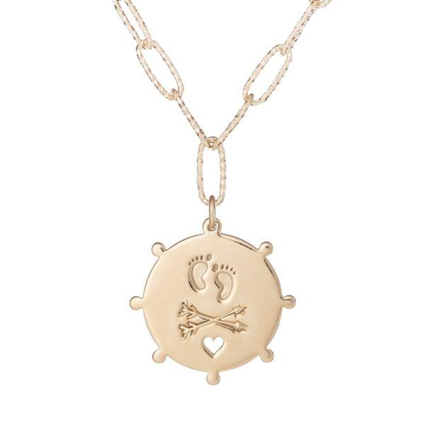 """Naszyjnik amulet srebrny pozłacany z napisem """"nowy początek"""""""