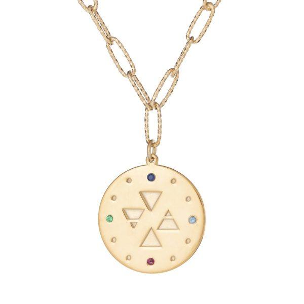 """Naszyjnik amulet srebrny pozłacany z napisem """"znajdź równowagę"""""""