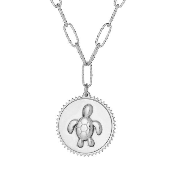 """Naszyjnik amulet srebrny z napisem """"dbaj o siebie"""""""