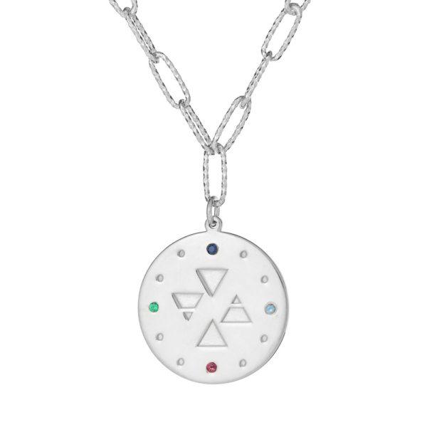 """Naszyjnik amulet srebrny z napisem """"znajdź równowagę"""""""