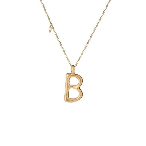 Naszyjnik ania kruk x pozerki srebrny pozłacany z literą b