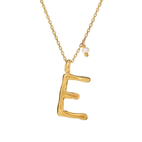 Naszyjnik ania kruk x pozerki srebrny pozłacany z literą e