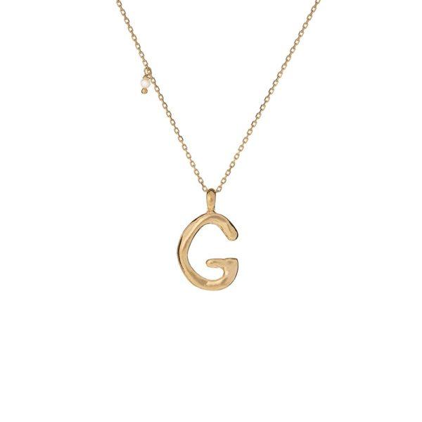 Naszyjnik ania kruk x pozerki srebrny pozłacany z literą g