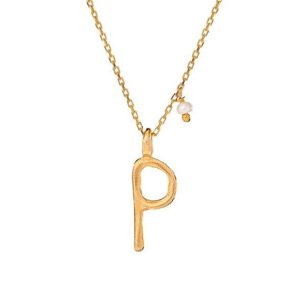 Naszyjnik ania kruk x pozerki srebrny pozłacany z literą p