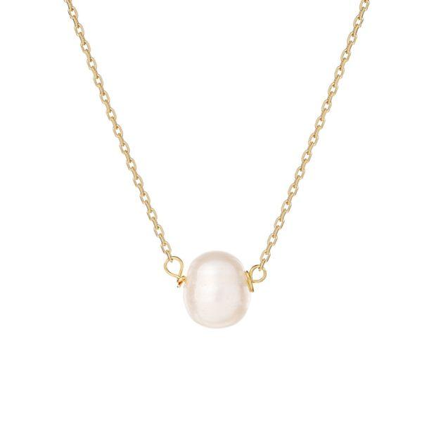 Naszyjnik ariel srebrny pozłacany z naturalną perłą