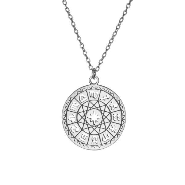 Naszyjnik astro srebrny ze znakami zodiaku