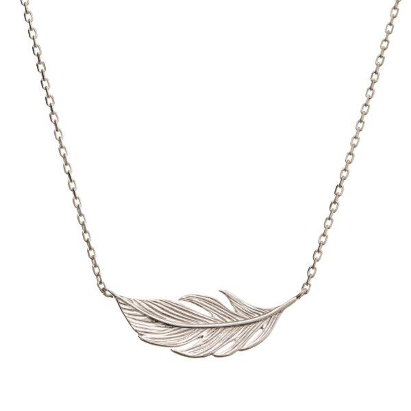 Naszyjnik boho srebrny z piórkiem