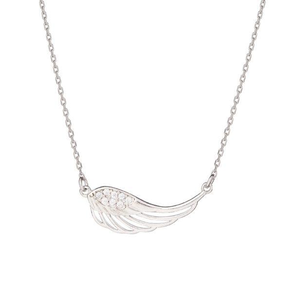 Naszyjnik boho srebrny ze skrzydłem