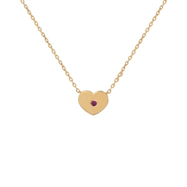 Naszyjnik diana złoty z serduszkiem i rubinem