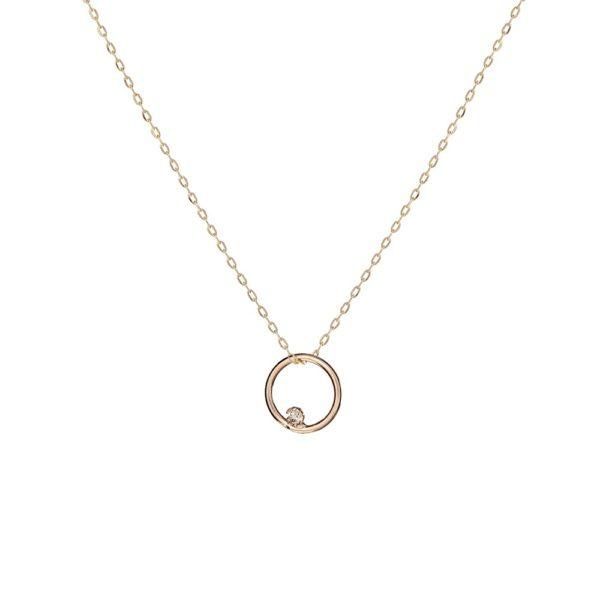 Naszyjnik golden eye złoty koło z diamentem