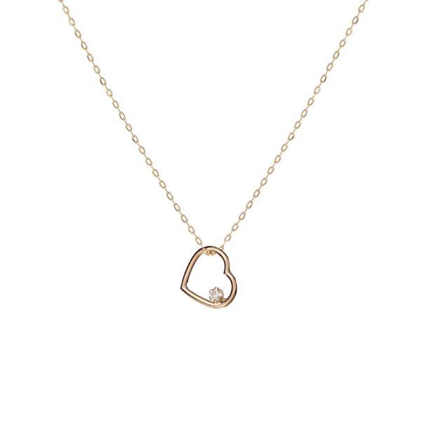 Naszyjnik golden eye złoty serce z diamentem