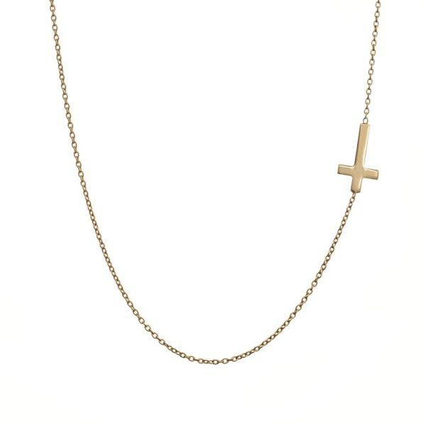 Naszyjnik golden eye złoty z krzyżykiem