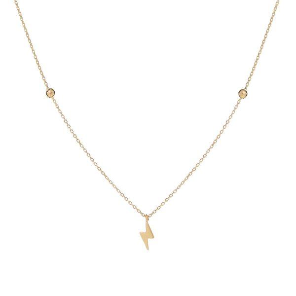 Naszyjnik goldie złoty z błyskawicą i kuleczkami