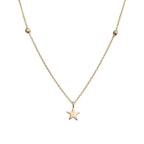 Naszyjnik goldie złoty z gwiazdką i kuleczkami