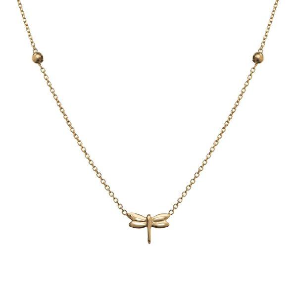 Naszyjnik goldie złoty z ważką i kuleczkami