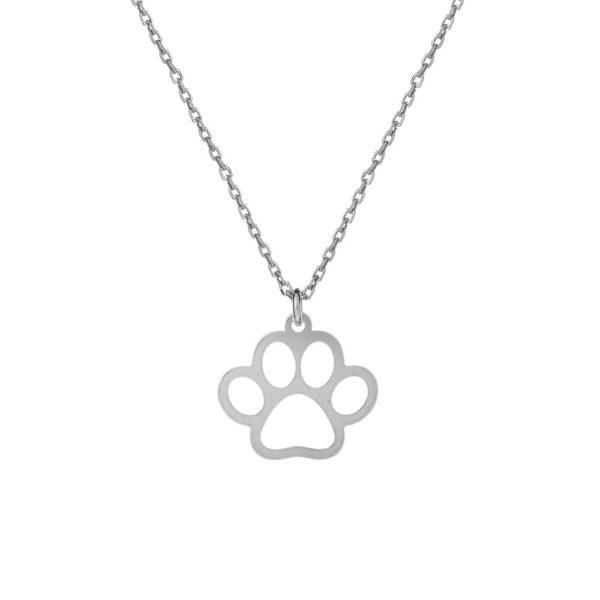 Naszyjnik hobby srebrny z łapką psa