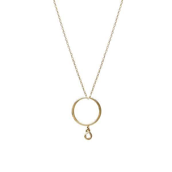 Naszyjnik hope złoty z kółkiem i cyrkonią