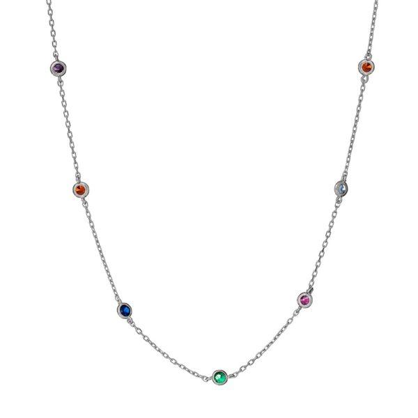 Naszyjnik iris srebrny z kolorowymi cyrkoniami