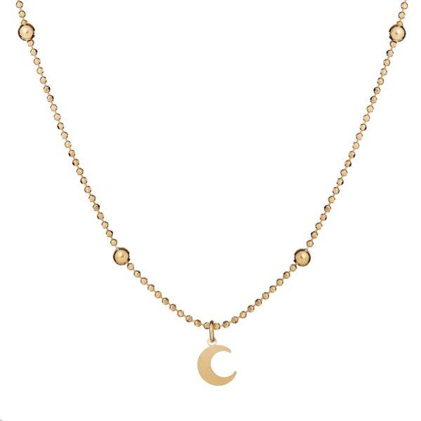 Naszyjnik loco star srebrny pozłacany z księżycem