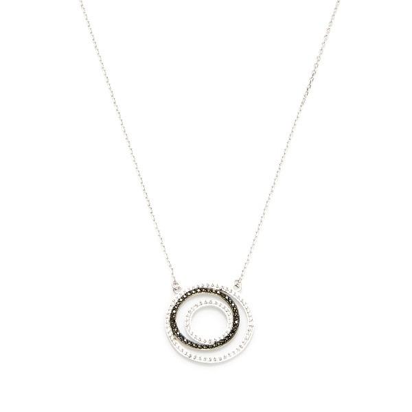 Naszyjnik nero srebrny z czarnymi i białymi cyrkoniami