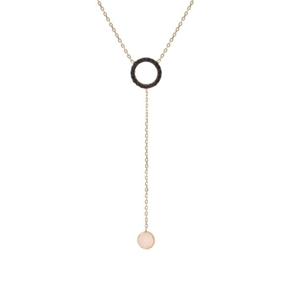 Naszyjnik nyks złoty z masą perłową i cyrkoniami