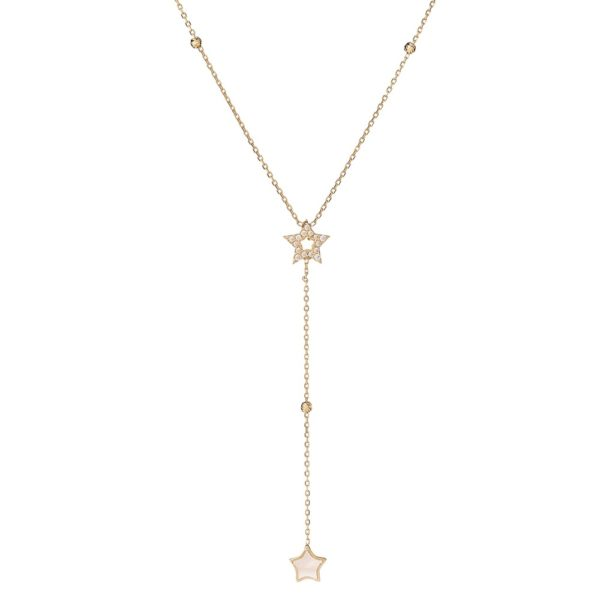 Naszyjnik nyks złoty z masą perłową i gwiazdkami