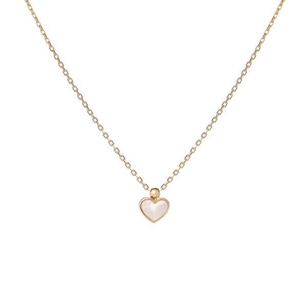 Naszyjnik nyks złoty z masą perłową i serduszkiem