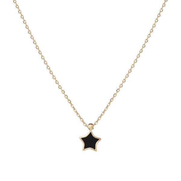 Naszyjnik nyks złoty z onyksem i gwiazdką