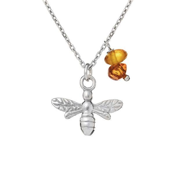 Naszyjnik rosalie srebrny z pszczółką i bursztynem koniakowym